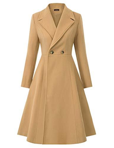Women's Winter Dress Coats Wool Double Breasted Long Pea Coat Camel XL