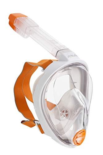 OCEAN REEF ARIA Schnorchel Maske, Vollgesichts Maske für Scuba Diving 180° Sichtfeld, müheloses Atmen, Anti Leak/Beschlag System und Dry Top, Weiß Farbe, Small Größe