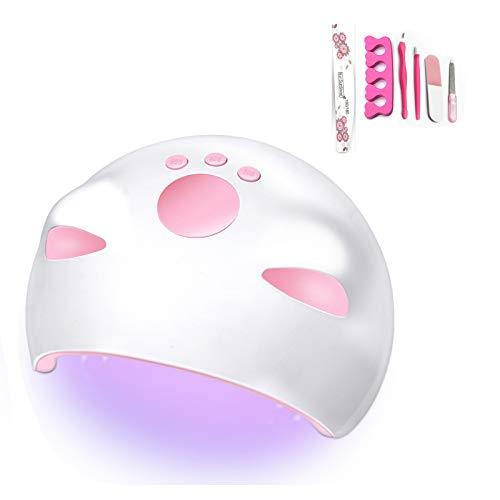 Lámpara de uñas LED UV Lámpara 60W Secador de esmalte de uñas en gel Lámpara de curado por luz con 3Timers Sensor automático Pantalla digital LED Llevar USB conveniente