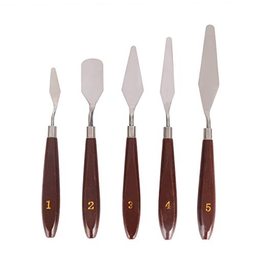 QIMMU 5 Stück Palettenmesser Set, Malmesser Spachtel, Öl Malen Spachteln, Malerei Messer, Palettenmesser Ölmalerei, Malmesser Set, für Malerei Kunst Farbmischung