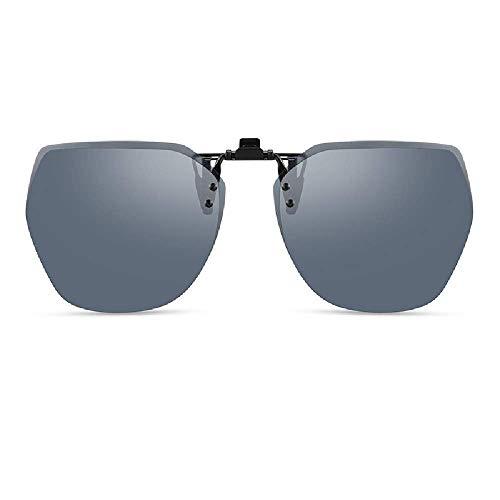 WOXING Clip En Polarizadas Gafas De Sol,Conducir Mujere Gafas,Súper Ligero Hombre Antideslumbrantes,HD Metal Ciclismo Correr Pesca Aire Libre Deportes Viajes-B 13.1x5.4cm(5x2inch)