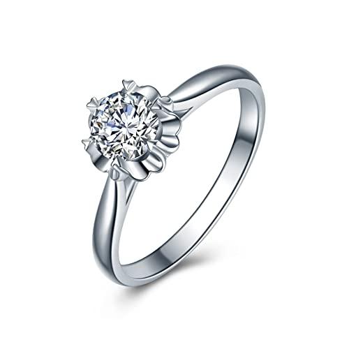 Aeici Alianzas Matrimonio 0.2ct Redonda Diamante, Anillo Oro blanco 18k para Mujeres, Tamaño 18,5
