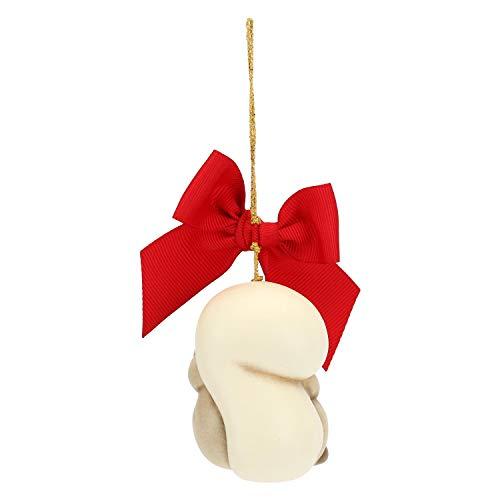 THUN - Addobbo Scoiattolo con Luna per Albero di Natale - Formato Grande - Ceramica - Linea Preludio d'inverno - 6,2x5,6x5,6 cm