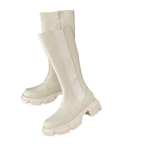 NHAO Mujer Plataforma de Botas de Agua de Botas de Lluvia de Invierno Botas de Montar de Mitad de la Pantorrilla Botas Chelsea Botas con Cremallera Lateral,6.5