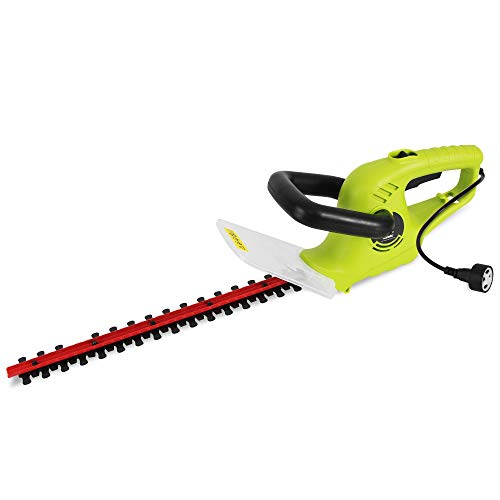 Corded Electric Handheld Hedge Trimmer - 4 Amp Electrical High Powered Hand Garden Trimmer Tool w/ 18 Inch Blade, 10 Ft Long Cord - Trims Bush, Shrub, Grass, Small Tree Branch - SereneLife PSLHTRIM52