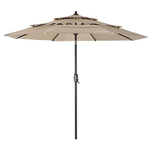 Takefuns Patio Umbrella 3 Tiers Outdoor Umbrella Patio Table Umbrella with Push Button Tilt, Crank and 8 Ribs - Beige