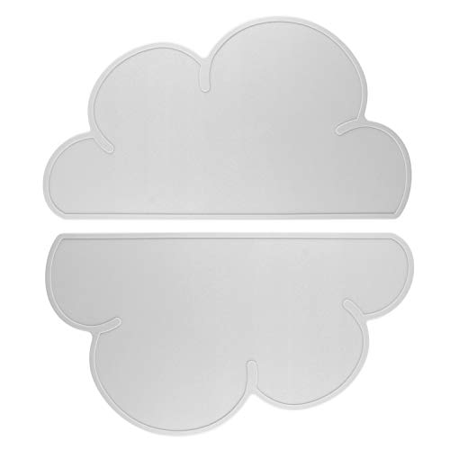 ANSUG Kinder-Tischsets, 2 PC Babywolken aus Silikon, rutschfeste, hitzebeständige, tragbare Futterteller für Kleinkinder, Kinder, Kleinkind - Grau