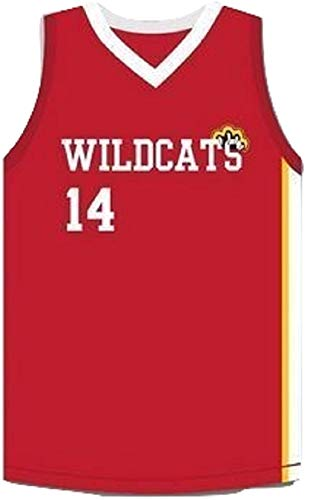 Zac E Troy Bolton 14 East High School Wildcats Claws Red Stitch Basketball Jersey (46)