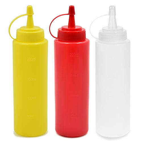 cococity Botellas de Plastico Grandes 240ml con Tapas de Rosca Dispensadores Rellenables para Ketchup Mostaza Vinagre Salsas Aceite Set de Botes Transparentes Sin BPA a Granel para Cocina