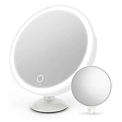 LISCENERY Miroir cosmétique à LED - Miroir de maquillage éclairé - Écran tactile de beauté - Miroir de table de maquillage grossissant 10 fois - Blanc + loupe (succion)