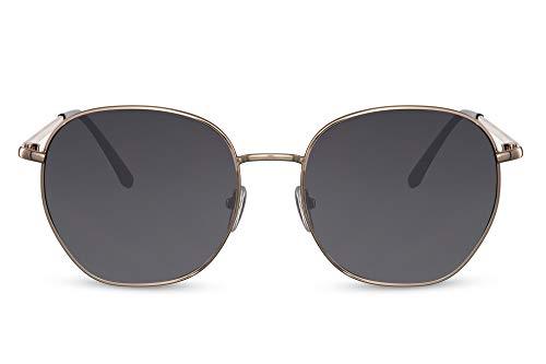 Cheapass Gafas de sol Sunglasses grandes redondas de metal dorado Retro Vintage lentes oscuras con protección UV400 Festival de verano para mujer