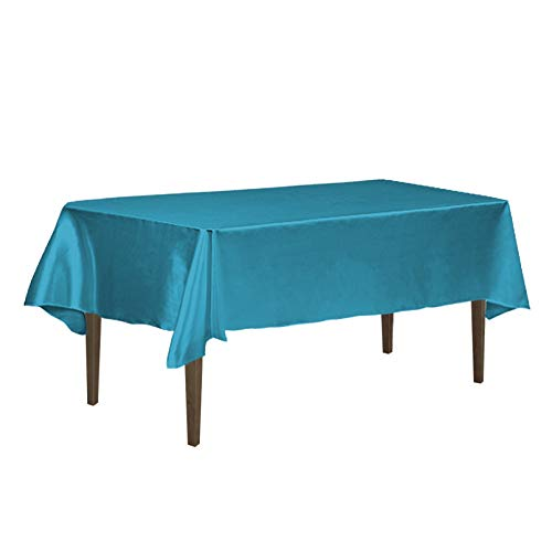 LinenTablecloth 60 x 126-Inch Rectangular Satin Tablecloth Turquoise