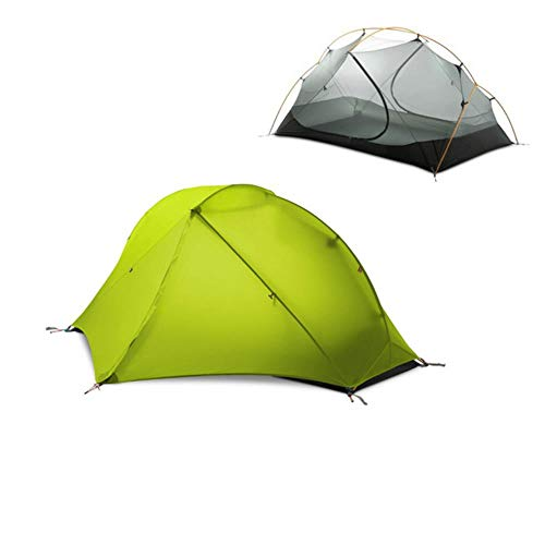 Tienda de campaña de silicona 15D ultraligera para 1 persona de doble capa para senderismo al aire libre, tienda de campaña de viaje de 3 a 4 estaciones con alfombrilla gratuita