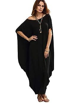 Verdusa Women s Boat Neck Batwing Sleeve Baggy Caftan Harem Oversized Maxi Dress Black XXL