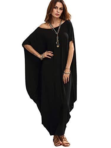Verdusa Women's Boat Neck Batwing Sleeve Baggy Caftan Harem Oversized Maxi Dress Black XXL