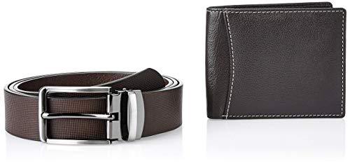 Amazon Brand - Solimo Men's Genuine Leather Belt & Wallet, RFID Blocking, Brown