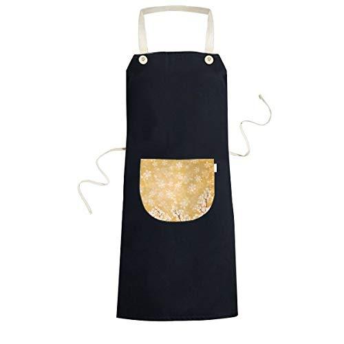 Sakura witte bloemblad patroon Japan koken keuken zwarte Bib schorten met zak voor vrouwen mannen chef-kok geschenken
