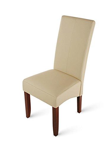 SAM® Esszimmerstuhl Luiz in Creme mit kolonial-farbigen Beinen aus Pinien-Holz, Stuhl mit SAMOLUX®-Bezug, angenehme Polsterung, pflegeleichter Stuhl mit geschwungener Rückenlehne und Ziernaht