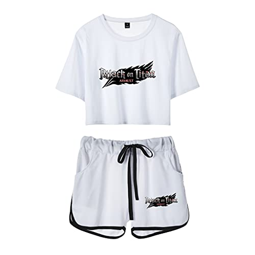 Attack On Titan Camiseta + Pantalones Cortos, 3D Shingeki No Kyojin Levi·Ackerman Anime Cosplay T-Shirt Casual Manga Corta Camiseta Ropa Camisa 2 Piezas Traje Deportivo para Hombre y Mujere (D,XXL)