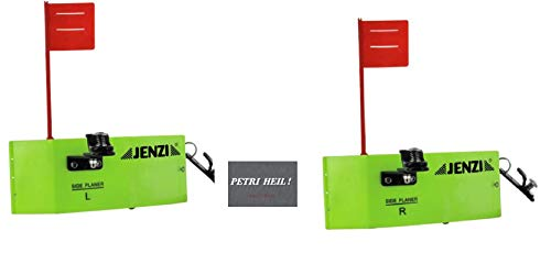 .JENZI Trolling Set: 2 Stück Side Planer mit Fahne (1x Links, 1x rechts), ca 19x8cm, Planer-Board+ gratis Petri Heil! Aufkleber