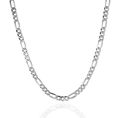 Quadri - Collar Elegante con Cadena modelo Figaro para Hombre/Mujer de Plata 925 - ancho 5 mm - largo 56 cm - Certificado Made in Italy