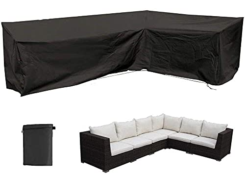 L Shaped Patio Sofa Cover, Heavy Duty Outdoor Sectional Furniture Cover, Waterproof Garden Couch Cover L-Shaped Sofa Cover, Garden Furniture Protector Black,V 215×215cm