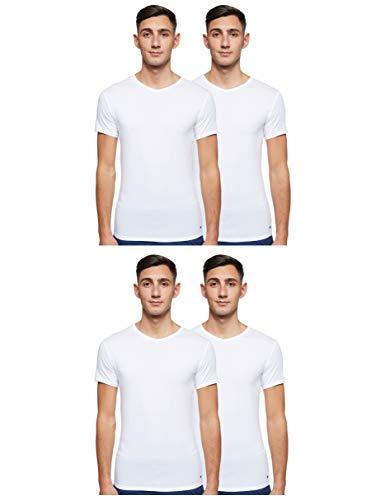 Tommy Hilfiger Herren Vn Tee ss 3 Pack Premium Essentials Unterhemd, Weiß (White 100), L (3er Pack)