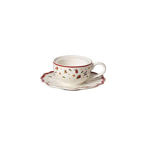 Villeroy & Boch Toy's Delight Decoration Teelichthalter Kaffeetasse, Teelichthalter in Kaffeetassenform, Premium Porzellan, weiß, rot, 9,8 x 9,8 x 4 cm