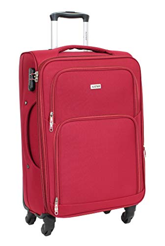 Alistair C-Lite Medium Luggage 67 cm – Lightweight and Durable Nylon Canvas – 4 Wheels – French Brand Red red M