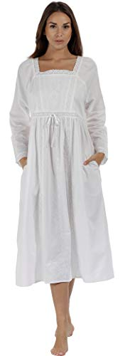 The 1 for U 100% Cotton Nightgown in Victorian Style with Pockets - Kayla (Medium, White)