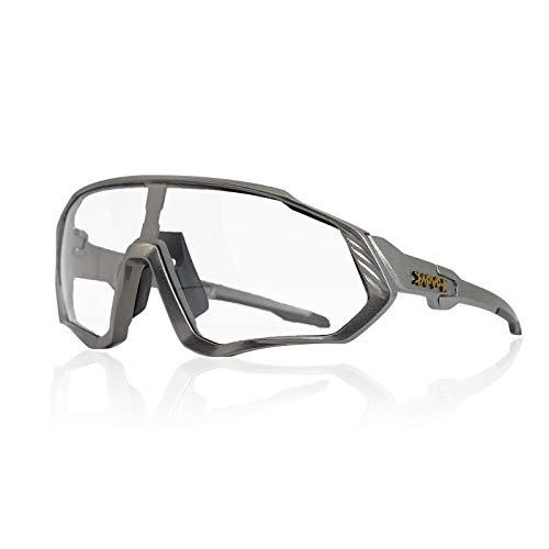 KAPVOE NUEVO Original TR90 Hombres Mujeres Gafas de sol deportivas Fotocromáticas Polarizadas Nuevas gafas de ciclismo para correr Ciclismo al aire libre Correr Adecuado para acampar (C34)