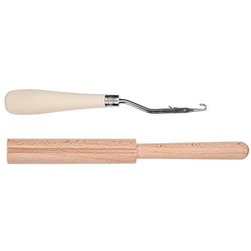 Herramienta de gancho de pestillo doblado de madera, aguja de ganchillo para alfombras, fuerte para cabello trenzado, crea hermosas alfombras