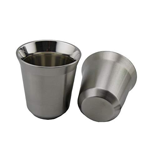 finoki Edelstahlbecher Set, 2pcs Edelstahl Becher Metallbecher Trinktassen Wärme isolieren Becher (L(7.8 * 7.3 cm))