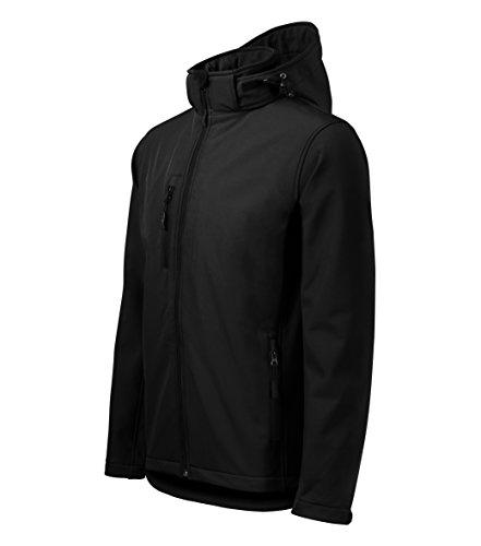 Chaqueta Softshell para Hombre con Capucha desmontable - Altamente resistente al agua (Negro – Talla: L)