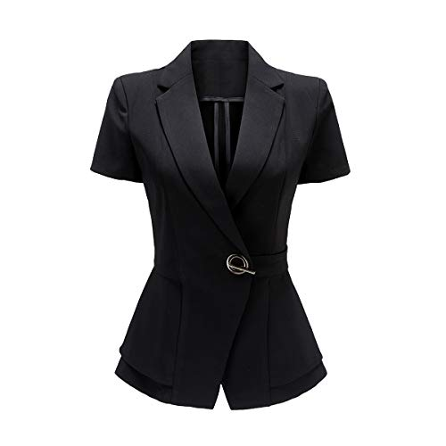 YYNUDA Women Short Sleeve Blazer Chic Smart Casual Formal Blazer Jacket Slim Fit Suit Jacket Black