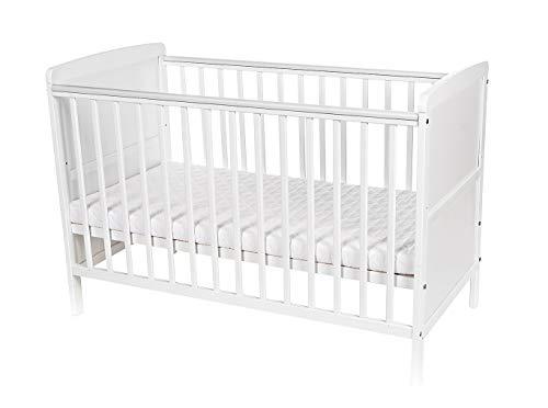 Niuxen BK-02 Baby Bett Kinderbett Travis Juniorbett 2 in1 Umbaubar höhenverstellbar Schlupfsprossen (mit Matratze)