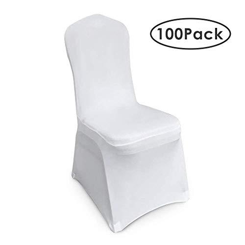 femor Stuhlhussen Weiß 100 Stück Stuhlhussen 40X20X25 cm Acelectronic Stuhlüberzug Moderne Stuhl Abdeckung für Hochzeiten und Feiern