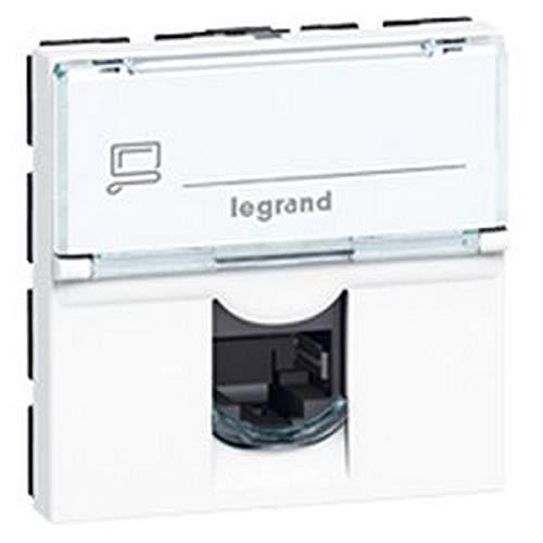 Legrand 076576 Prise Catégorie6A Stp à Blindage Métal Mosaic, 2 Modules, Blanc