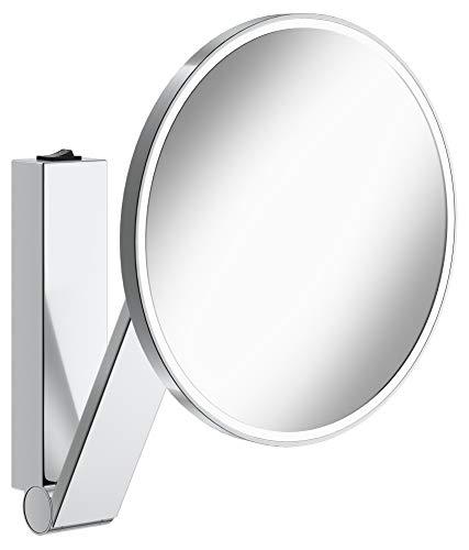 KEUCO Wand-Kosmetikspiegel mit Schwenkarm, LED-Beleuchtung, 5-facher Vergrößerung, Wippschalter, 20x20cm, rund, chrom, Kippschalter, iLook_move