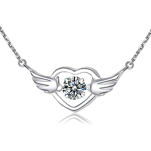 Sxcespp Collar de clavícula de Plata 925 para Mujer, Collar de alas de Amor con Colgante de corazón, Longitud de Cadena Ajustable, Colgante de joyería de Moda y Exquisito, Duradero y no alergénico