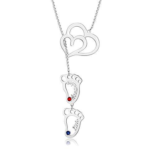 Jewelora Collar personalizado para mujer con pies de bebé, 2 corazones, colgante, piedra natal, con nombre, regalo para la familia en el día de la madre, día de San Valentín, Navidad (2 nombres)