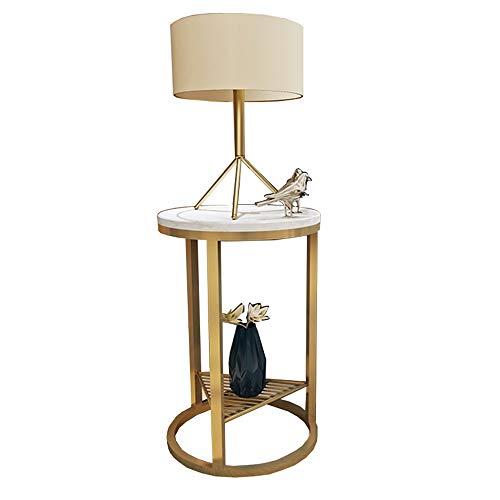 ZHIRONG Table D'appoint Style Nordique Marbre Rond Table Téléphonique/Table D'angle/Table De Canapé/Table Basse,19.6''x21.6'' (Couleur : Or)