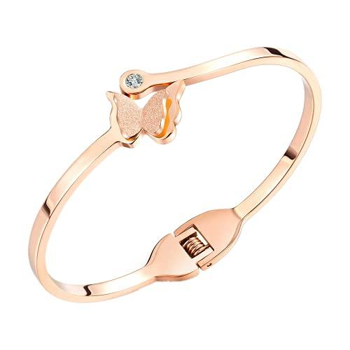 Diseño elegante personalidad Scrub mariposa mosaico Zircon pulsera de acero inoxidable pulsera oro rosa color señoras