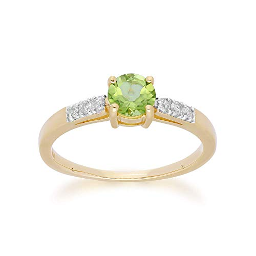 Gemondo Peridot-Ring, 9 Karat Gelbgold Peridot & Diamant Rundschliff Ring