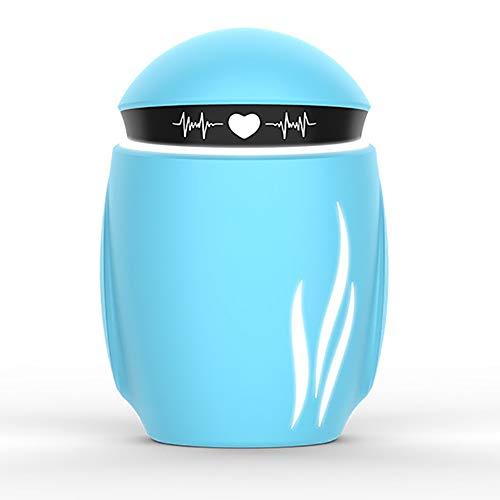 MJLOMJ Mini Robot Humidificador, Humidificador de Aire Atomizado con Aromaterapia Tres En Uno, Portatil Apagado Automático 7-Color LED Difusor Humidificador de Niebla Fría,Sea Sky Blue