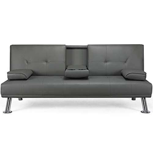 Topeakmart Faux Leather Futon Sofa Bed Loveseat Sleeper Couch with Armrest and Cup Holders Home Furniture Gray