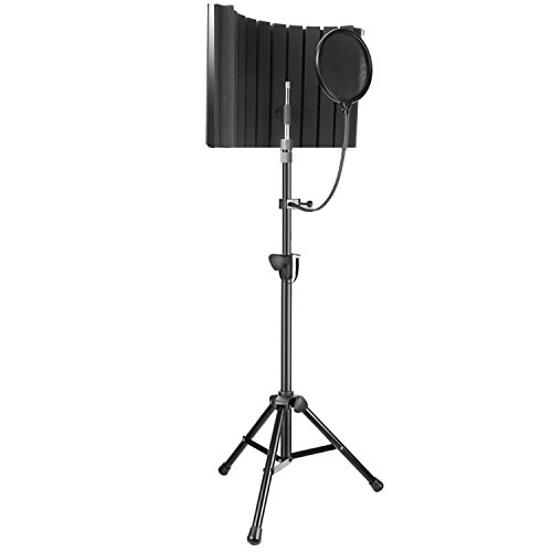 Neewer Professional Microphone Studio Recording Accessories Include: NW-8 Mic Isolation Shield, Adjustable Wind Screen Bracket Stand and Pop Filter for Vocal Acoustic Recording and Podcasting