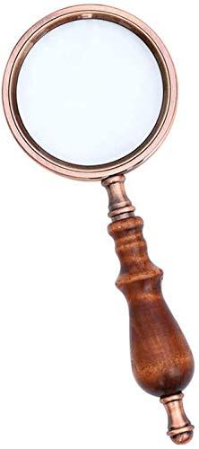 JJDSN Lupa de Mano, Lupa de Vidrio óptico 10X con Mango Retro para Leer, Pasatiempos, Monedas, Libros, Sellos, inspección, reparación