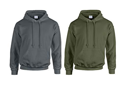 Gildan 2er Heavy Blend Kapuzen-Sweatshirt Kapuzenpullover18500 S M L XL 2XL 3XL 4XL 5XL auch Farbsets (XL, Anthrazit/Militarygreen)