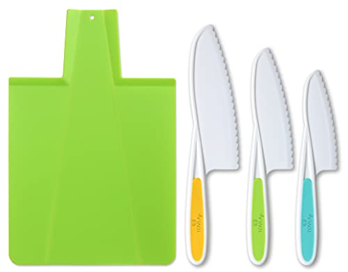 Kids Kitchen Knife and Foldable Cutting Board Set